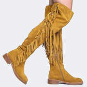 Women's Vintage Tassel Solid Low Heel Thigh High Boots