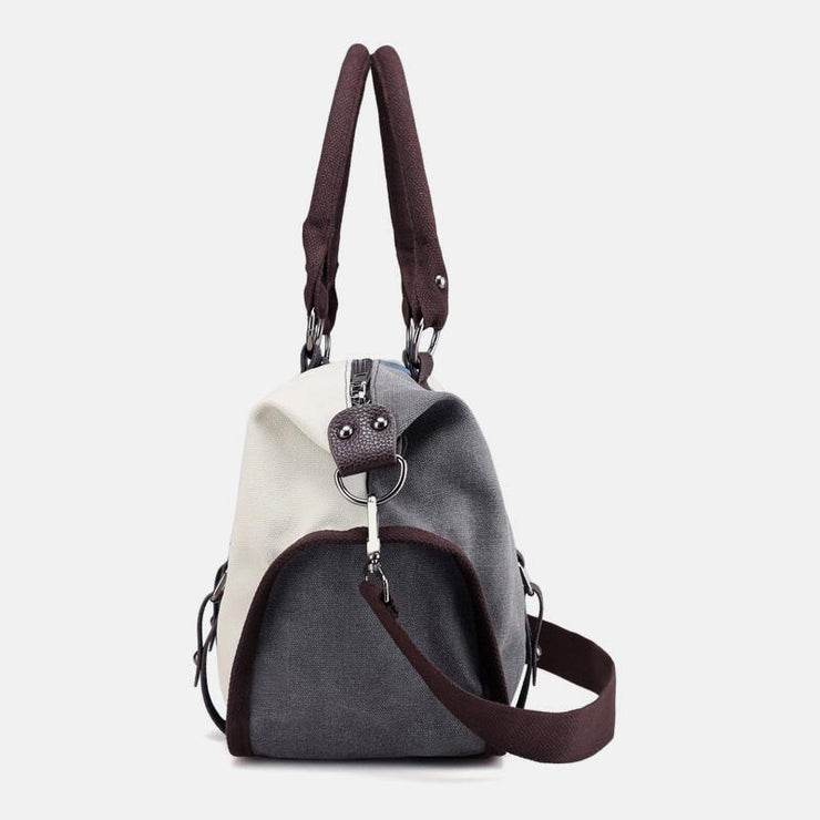 Large Capacity Contrast Stitching Canvas Crossbody Handbag