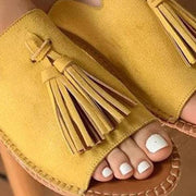 Womens Tassels Open Toe Flats Slides