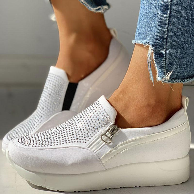 Women's Casual Suede Beads Design Zipper Platform Sneakers