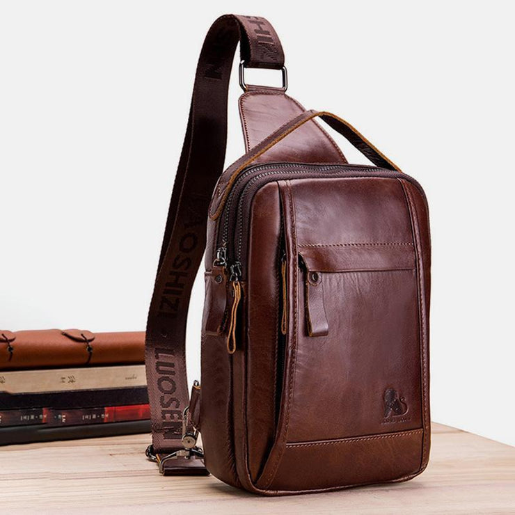 Waterproof Leather Retro Sling Bag