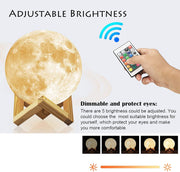 16 Color 3D Printed Moon Night Light With Remote & Touch Control
