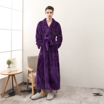 Thickened flannel men's and women's fixed belt bathrobe
