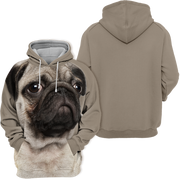 Unisex 3D Graphic Hoodies Animals Dogs Pug Quiet