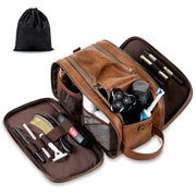 Toiletry Bag for Men, Large Travel Shaving Dopp Kit Water-resistant Bathroom Toiletries Organizer PU Leather Cosmetic Bags