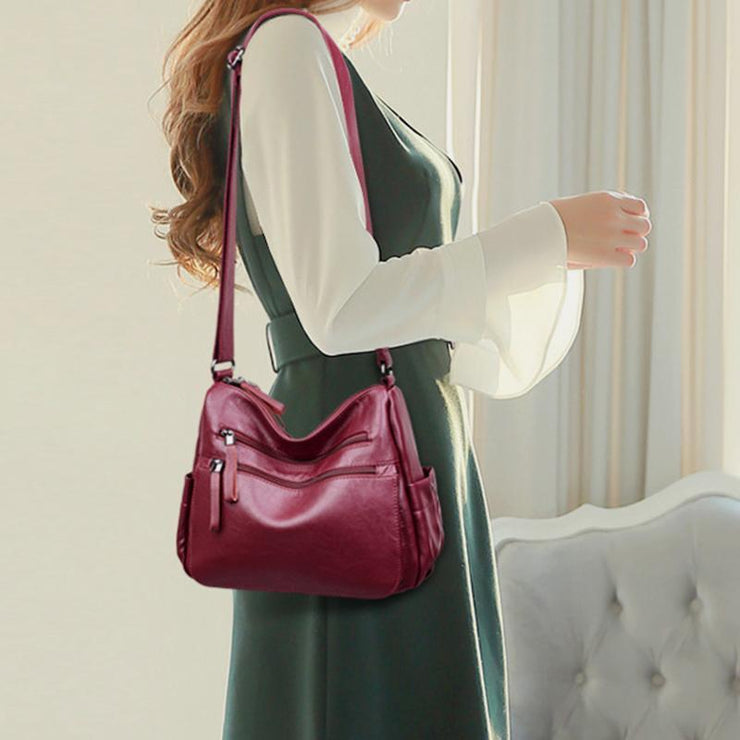 Retro Style Multi-Pocket Large Crossbody Bag
