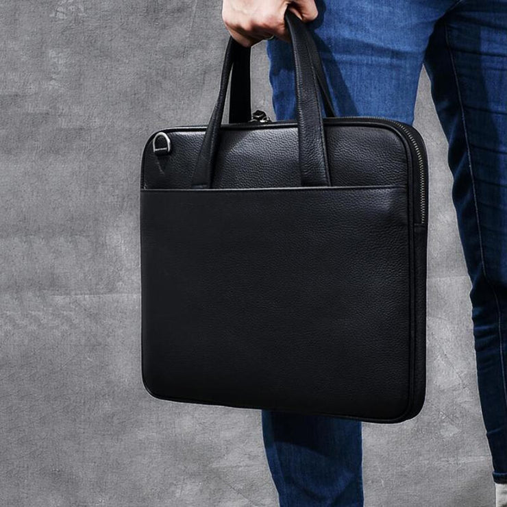 Full Grain Leather Men Briefcase Tote Messenger Bag Laptop Shoulder Bag ESS3587
