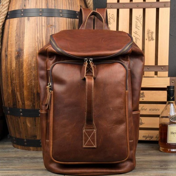 Full Grain Leather Travel Backpack Retro Bucket Backpack Laptop Backpack MSG8861