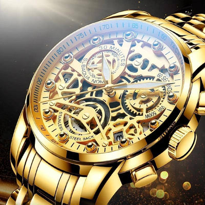 Luxury  Gold Male Stainless Steel Watch(Get Sunglasses For Free)