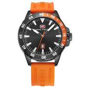 Men's Orange Rubber Strap Military Quartz Watch