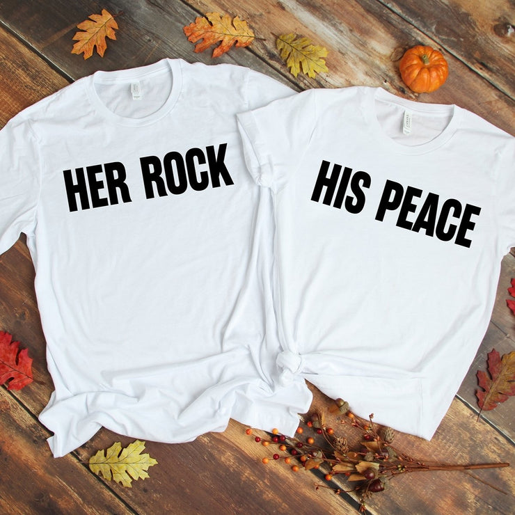 Her Rock & His Peace White Shirts