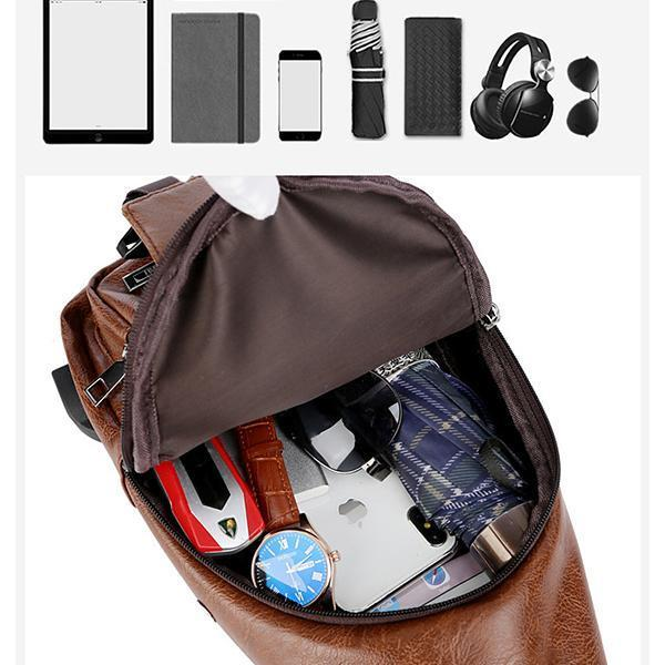 Warterproof USB Charging Sling Bag