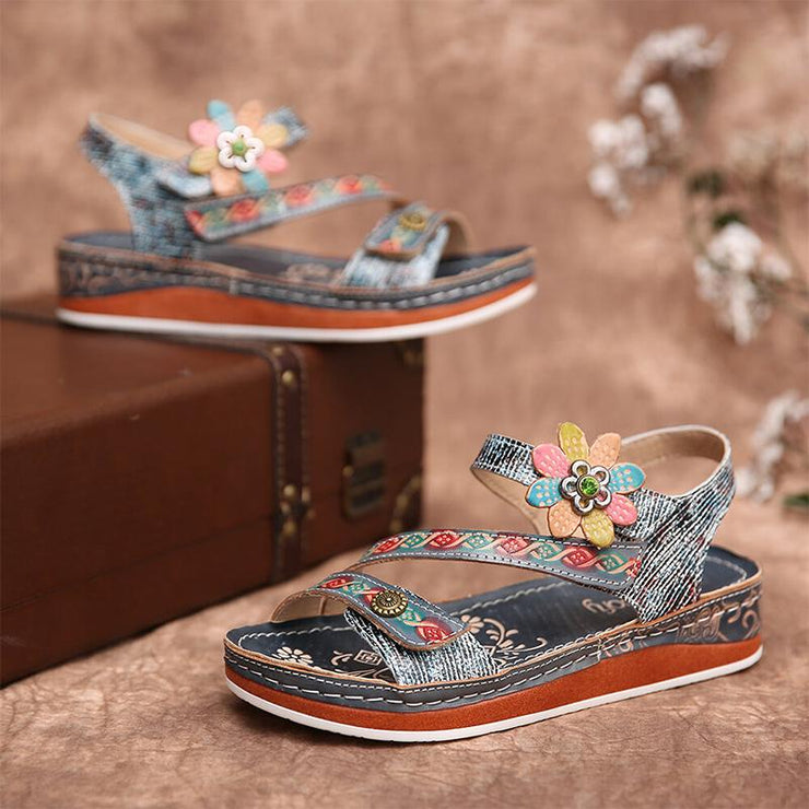 Women Retro Floral Stitching Ankle Strap Flat Sandals