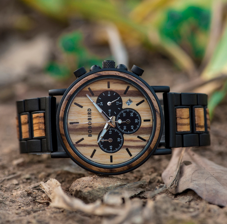 Wooden Luxury Stylish Timepieces Chronograph Military Quartz Watches