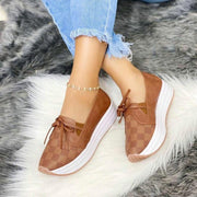 Women's Comfy Classic Platform Shoes Ckeck Plaid Sneakers