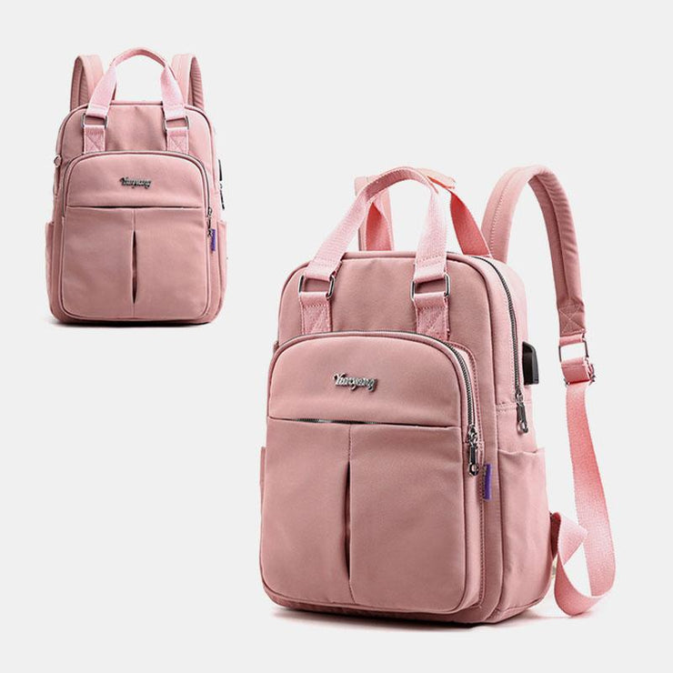 Women Canvas Multifunction Waterproof Casual Patchwork Backpack