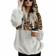 TEDDY HOODIE - Extremely warm and cozy hoodie with stylish leopard pattern for Spring Winter