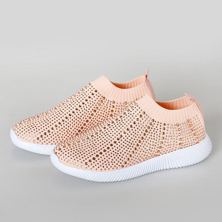 Crystal Slip on Mesh Breathable Sock Shoes Casual Outdoor Vulcanized Sneakers