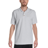 Disc Golf Embroidered Polo Shirt White Text