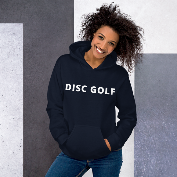 Disc Golf Unisex Hoodie White Text