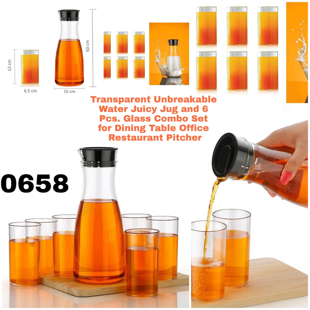 0658_Transparent Unbreakable Water Juicy Jug and 6 Pcs. Glass Combo Set for Dining Table Office Restaurant Pitcher