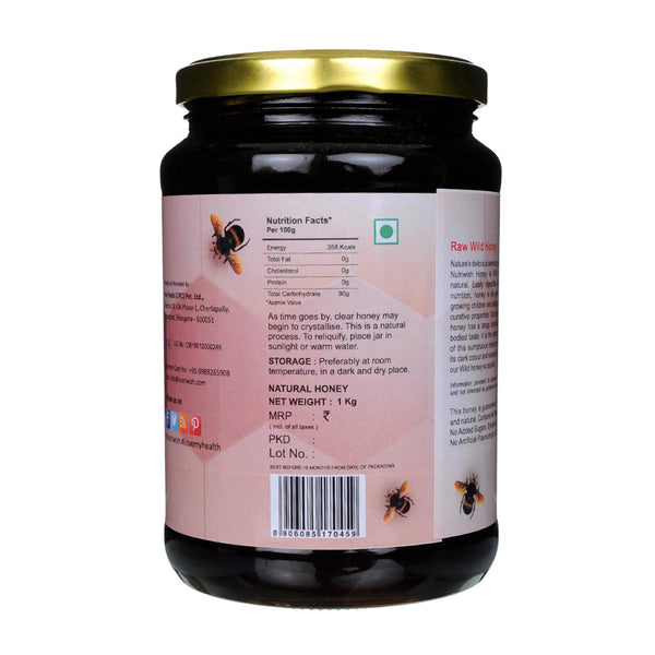 NUTRIWISH 100% Pure Organic Honey - Wild Forest 1 Kg