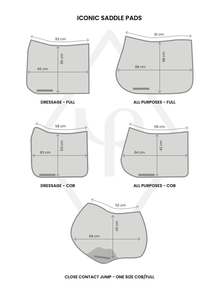 Iconic saddle pad size guide for horses
