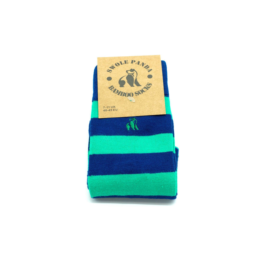 Swole Panda Bamboo Socks - Green & blue striped