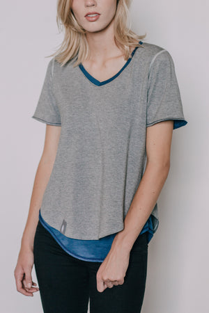 The Reversible Transfer Top - Ocean Blue/Gray