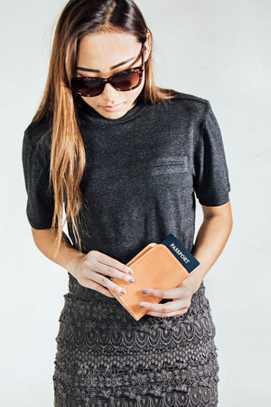 Two-Pocket Boyfriend Travel Tee - Charcoal Microstripe