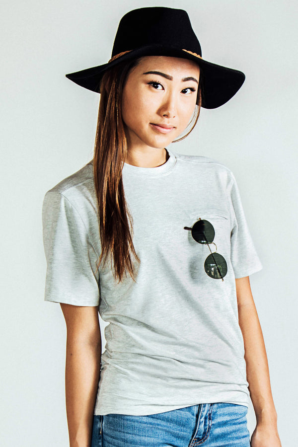 Two-Pocket Boyfriend Travel Tee - Light Gray Microstripe