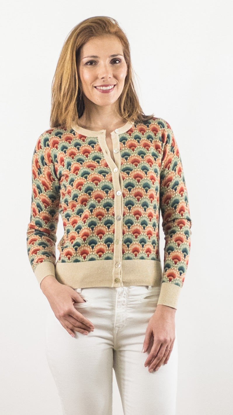 CARDIGAN COURT IMPRIME BEIGE ORANGE VERT MODELE CARMEL KING LOUIE