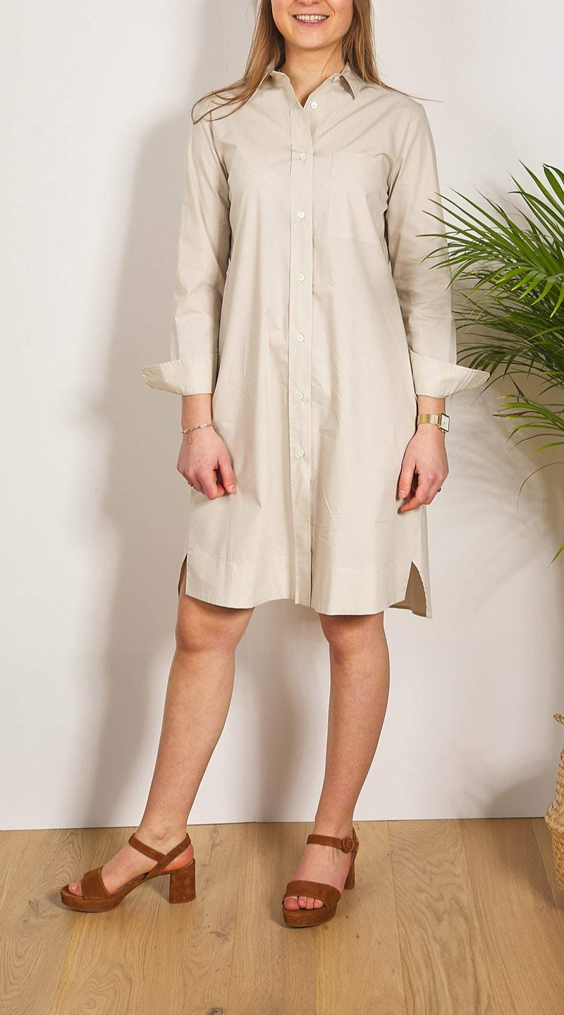 ROBE CHEMISE SS653V MANCHES LONGUES COULEUR BEIGE