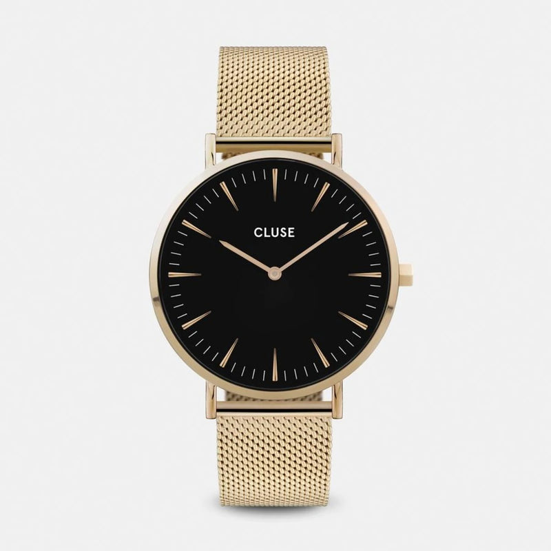 MONTRE BOHO CHIC MESH BLACK GOLD CLUSE