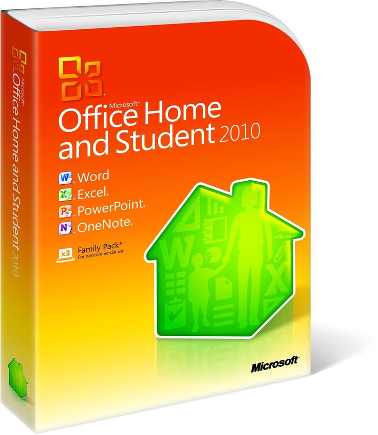 Microsoft Office Home and Student 2010 - 3 PCs - Box Pack - 32/64 Bit