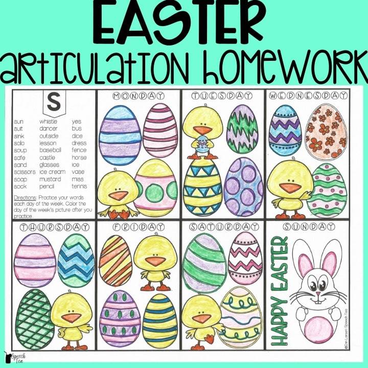 Easter Articulation Homework