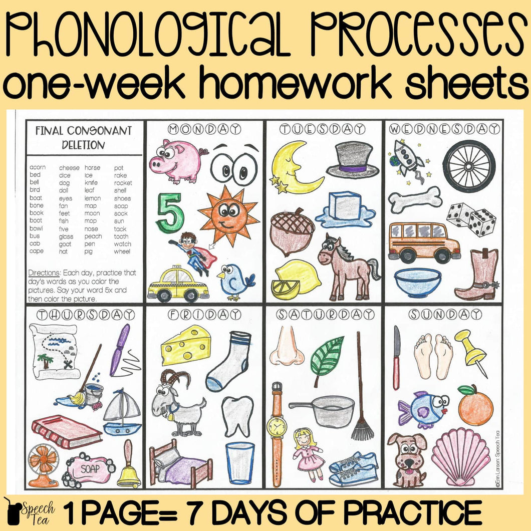 Phonological Processes Homework Color Sheets