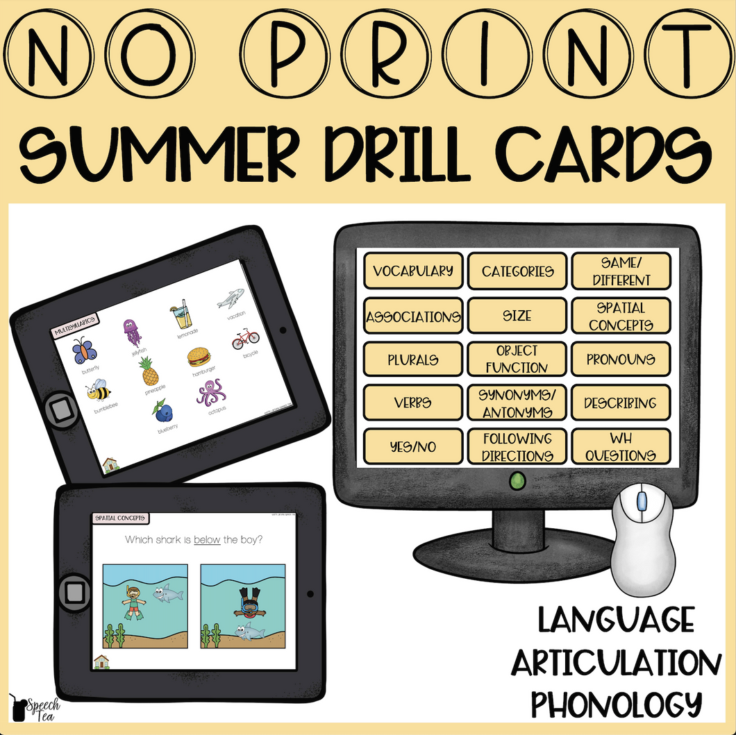 No Print Summer Speech Therapy Drill Cards