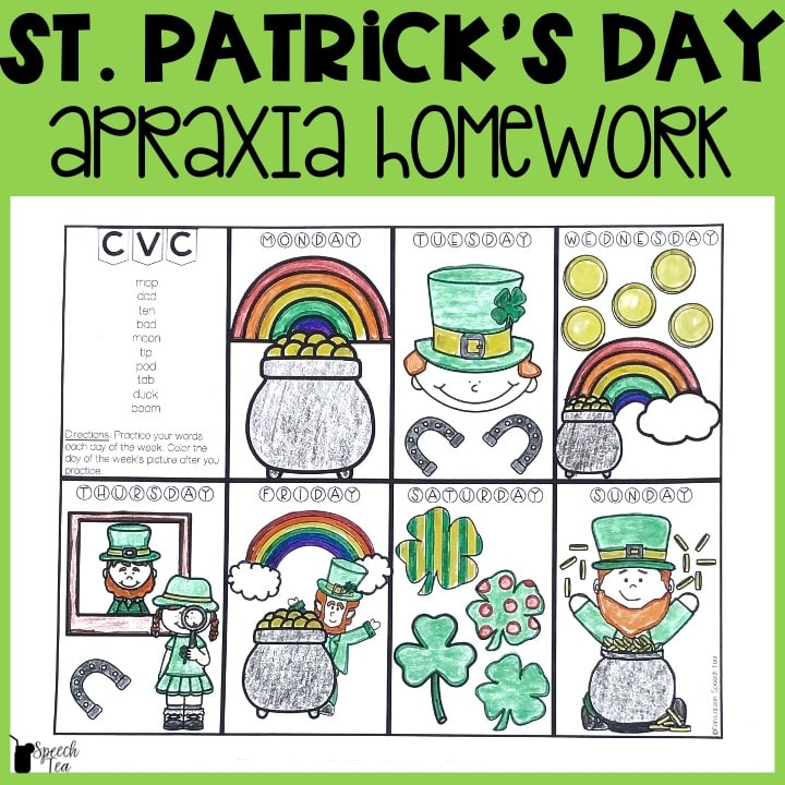 St. Patricks Day Apraxia Homework