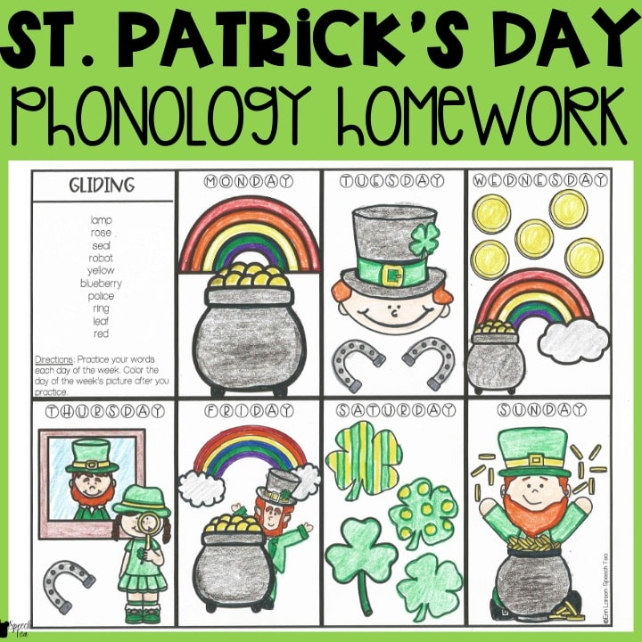 St. Patrick's Day Phonological Processes Homework