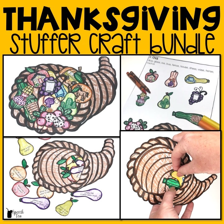 Thanksgiving Speech Therapy Stuffer Craft Bundle