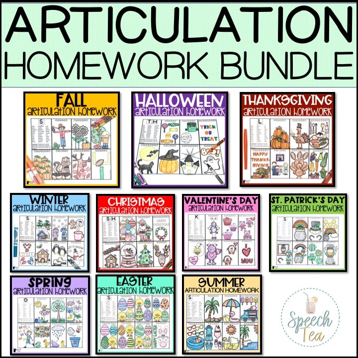 Articulation Homework Bundle