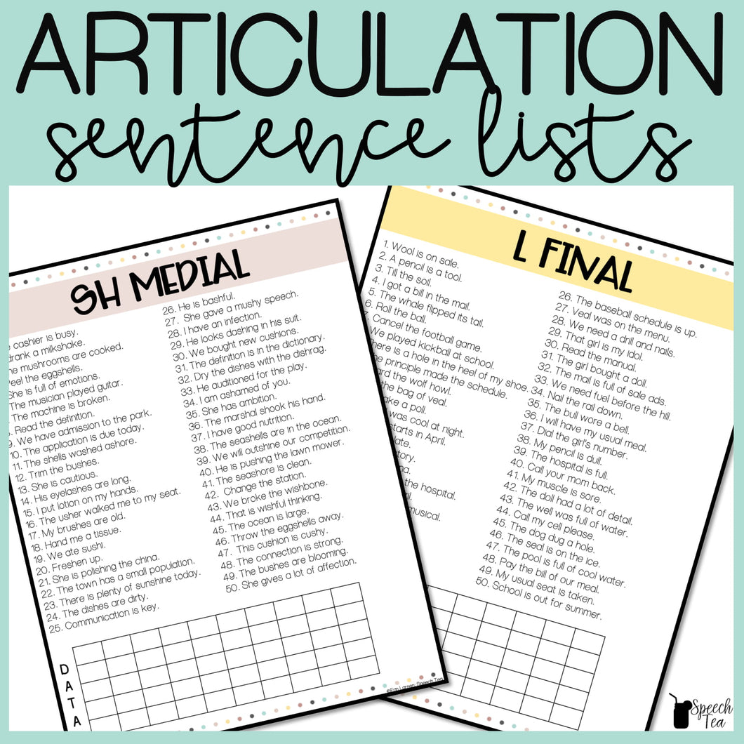 Articulation Sentences Lists