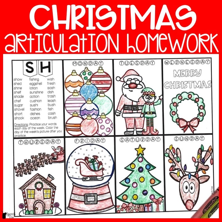 Christmas Articulation Homework