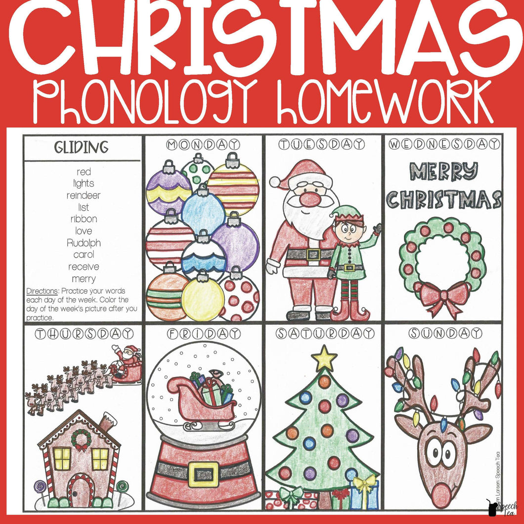 Christmas Phonological Processes Homework