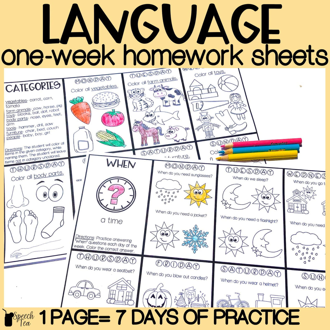 Language Homework Color Sheets