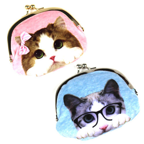 Small Pink/Blue Cat Pouch - Hannari  - 1