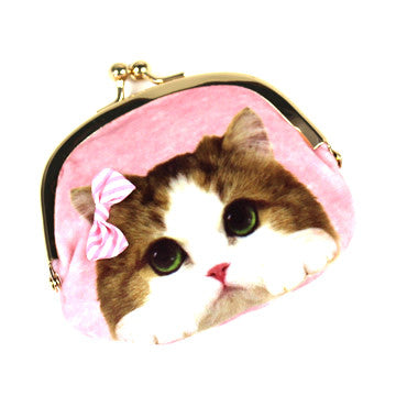 Small Pink/Blue Cat Pouch - Hannari  - 2