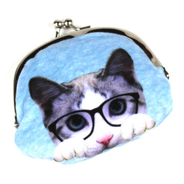 Small Pink/Blue Cat Pouch - Hannari  - 5
