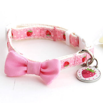 Strawberry Collar with Pink Bow - Hannari  - 1